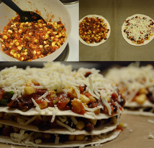 Tortilla with corn and blackbeans with cheese topping